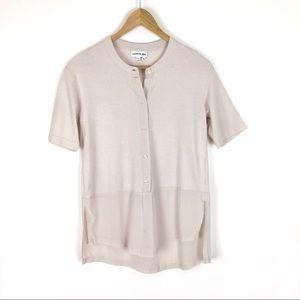 Lacoste Top Shirt Blouse Tan Cream